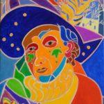 Autoportrait au carnaval Peinture de Henri LANDIER 2016 92x65 cm Prix : 13 000 €