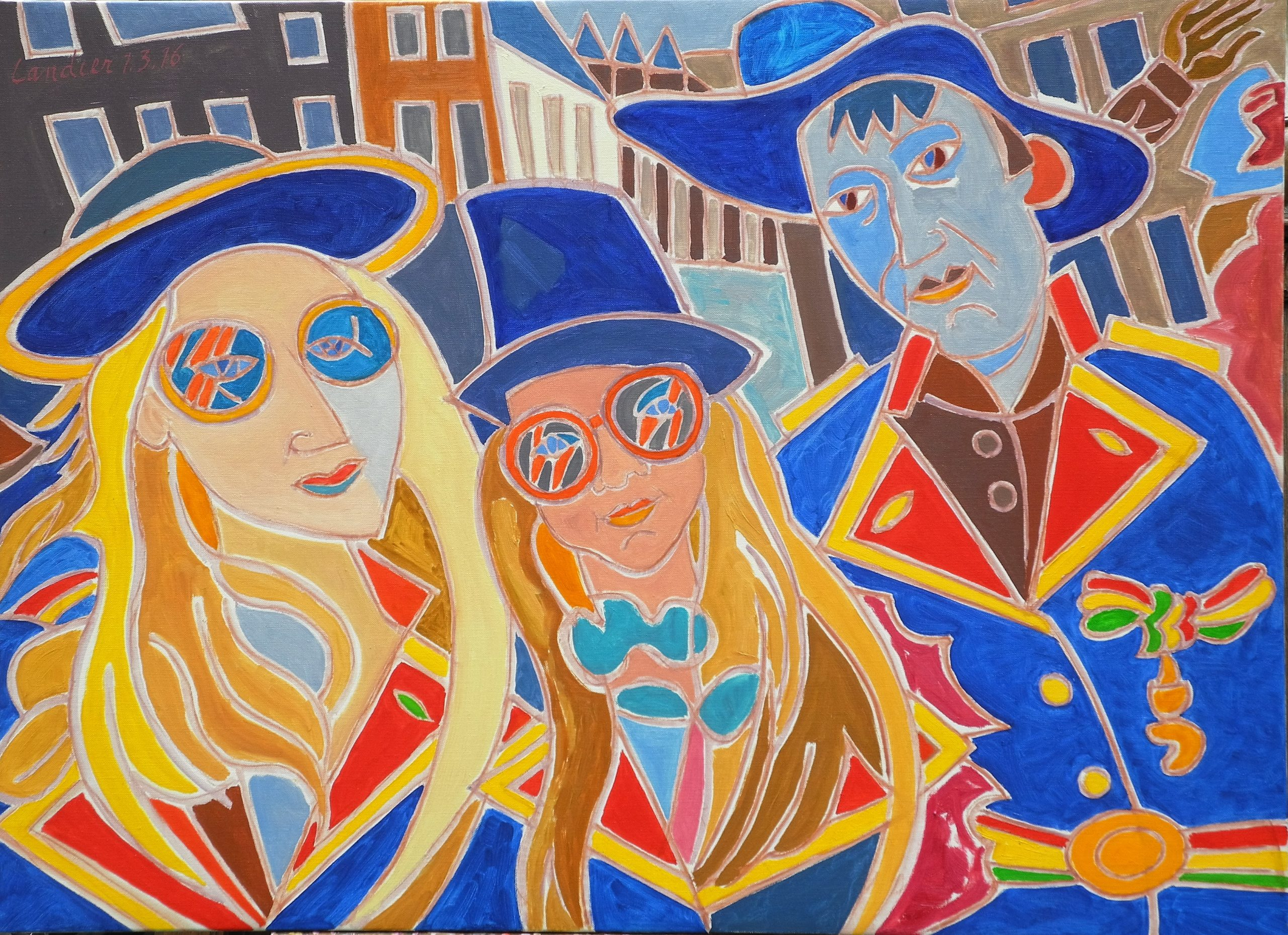 Mes petits-enfants au carnaval de Maastricht Peinture de Henri LANDIER 2016 73x100 cm Prix : 15 000 €