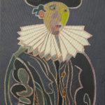 Autoportrait à la collerette sur fond gris bleu Peinture de Henri LANDIER 2009 92x60 cm Prix : 13 000 €