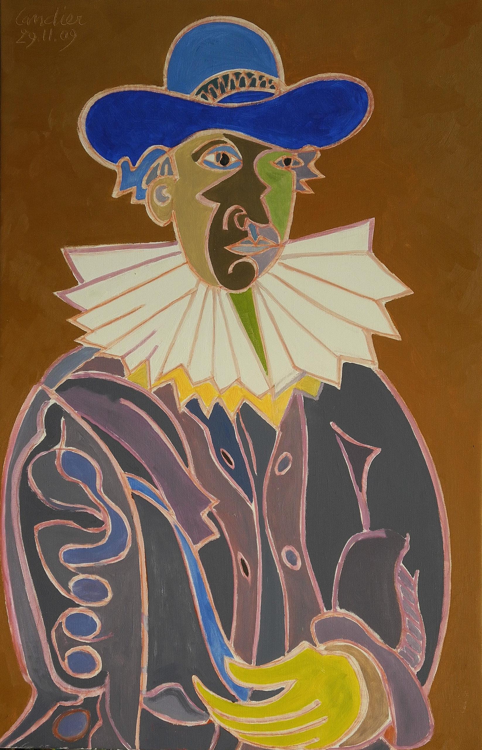Hommage au Rembrandt sur fond ocre brun Peinture de Henri LANDIER 2009 92x60 cm Prix : 13 000 €