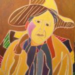 Autoportrait au chapeau à la plume 2016 Peinture de Henri LANDIER 2009 92x60 cm Prix : 13 000 €
