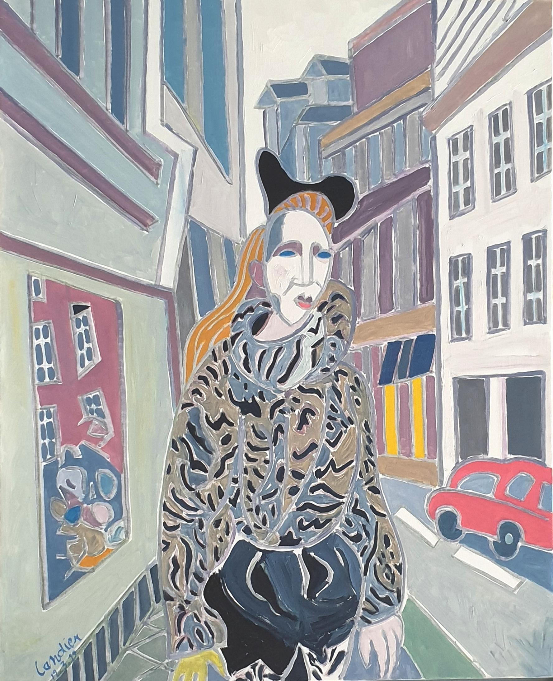 La jeune fille à la fourrure Peinture de Henri LANDIER 2019 100x81 cm Prix : 15 000 €