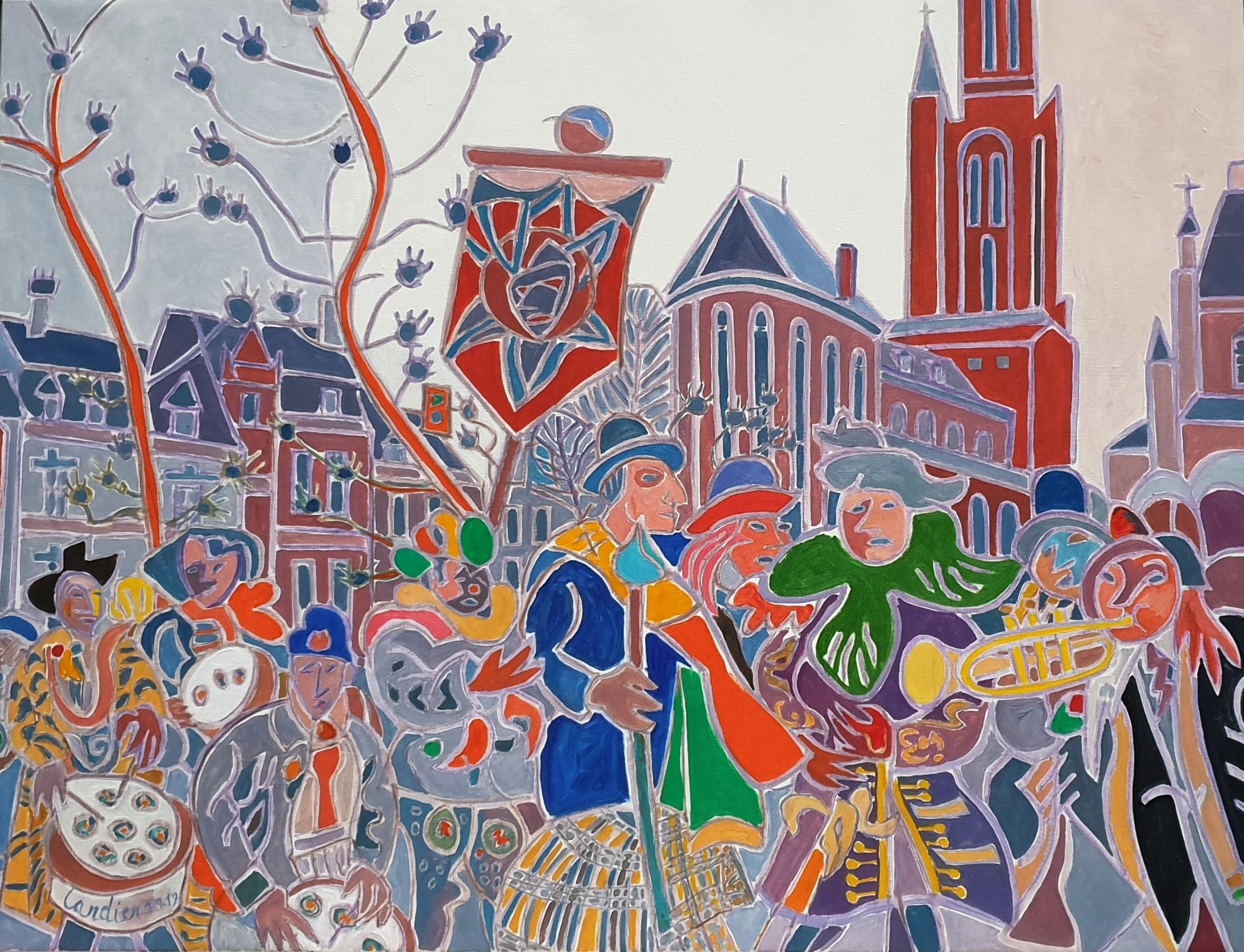 Le cortège sur la Vrijthof Peinture de Henri LANDIER 2019 89x116 cm Prix : 18 000 €