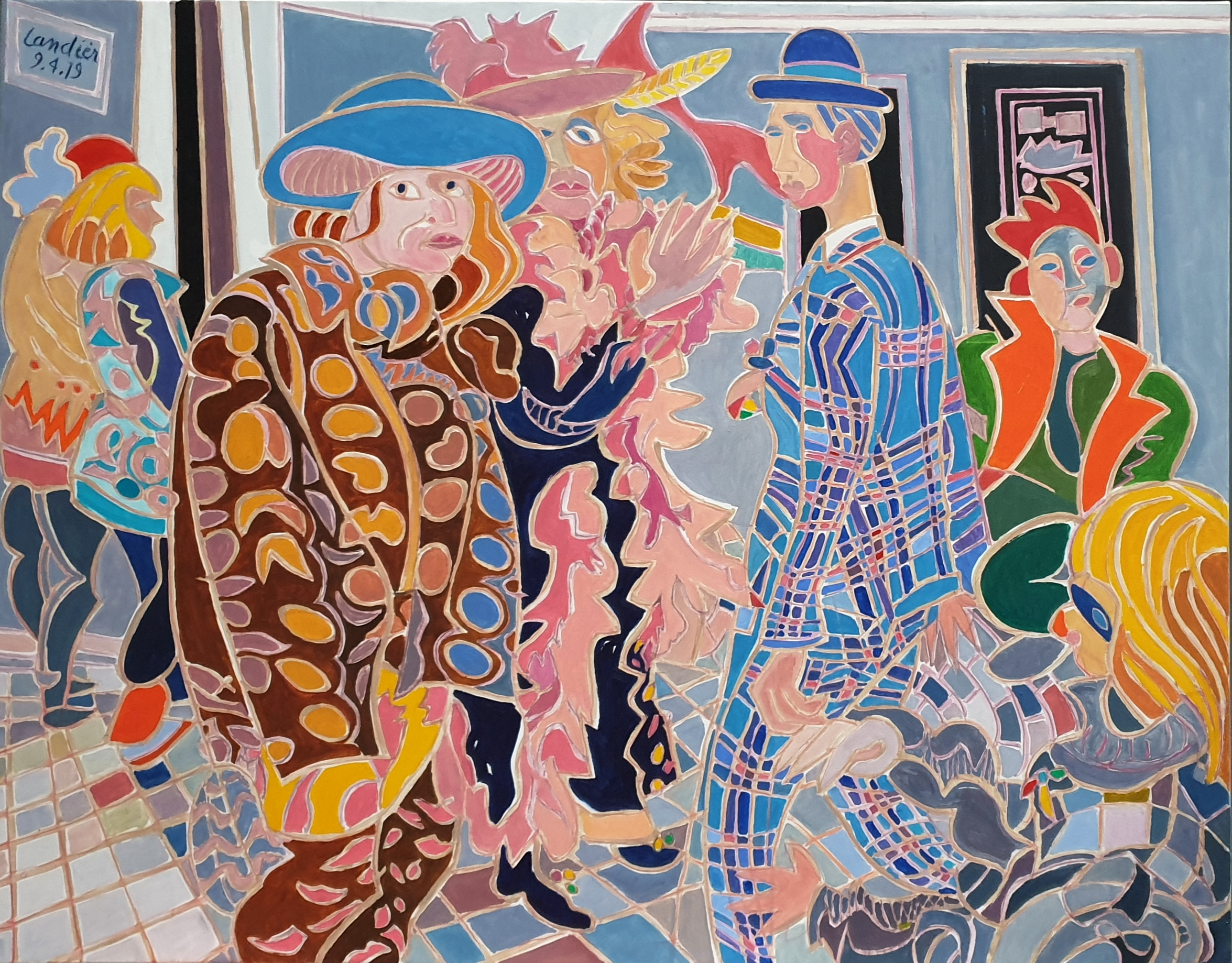Le dandy dans la foule Peinture de Henri LANDIER 2019 114x146 cm Prix : 25 000 €