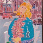 La blonde au boa rose Peinture de Henri LANDIER 2019 92x65 cm Prix : 12 500 €