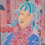Léa au boa rose Peinture de Henri LANDIER 2019 92x60 cm Prix : 12 000 €