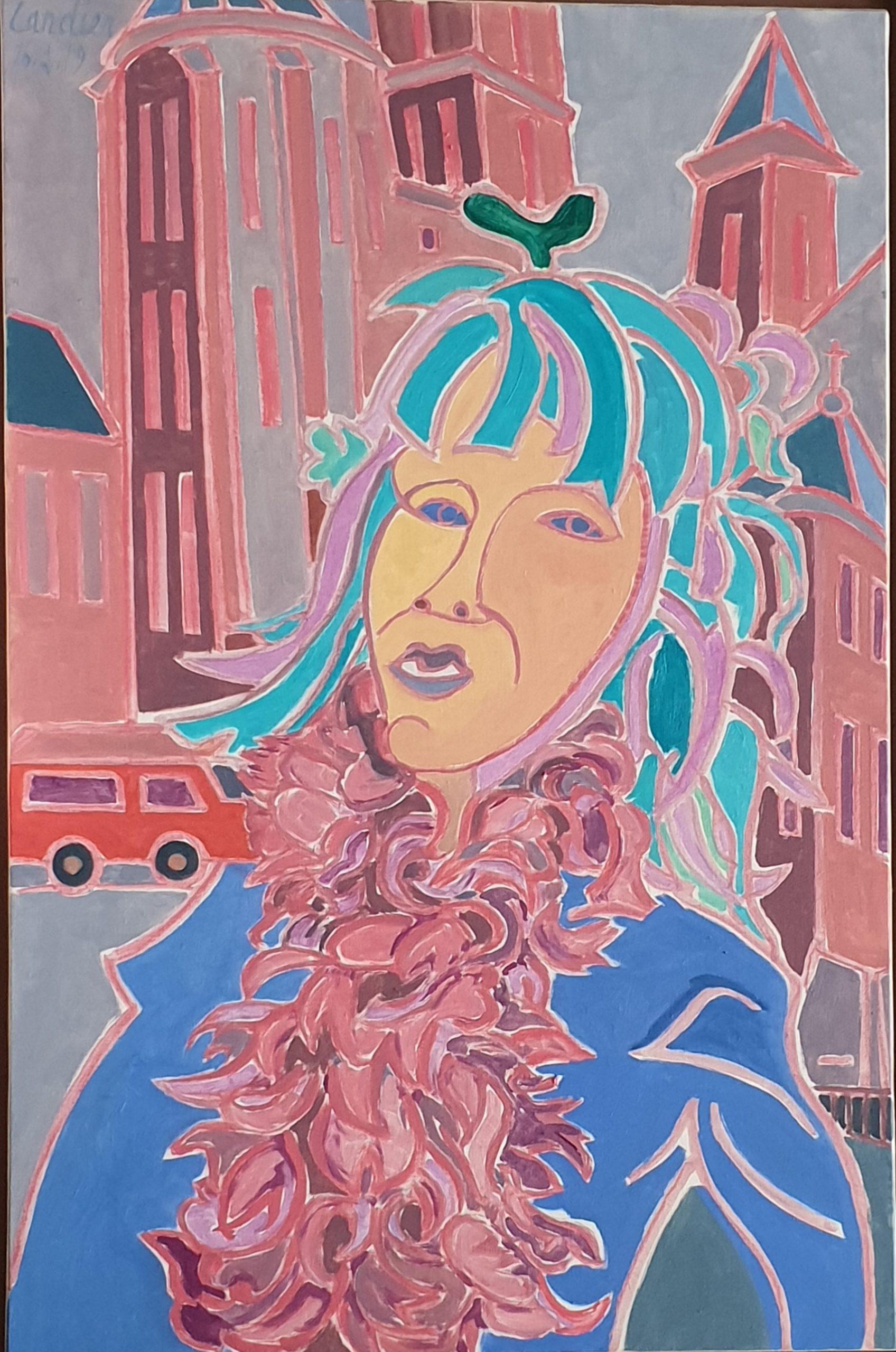 L'artiste et le fou au carnaval Peinture de Henri LANDIER