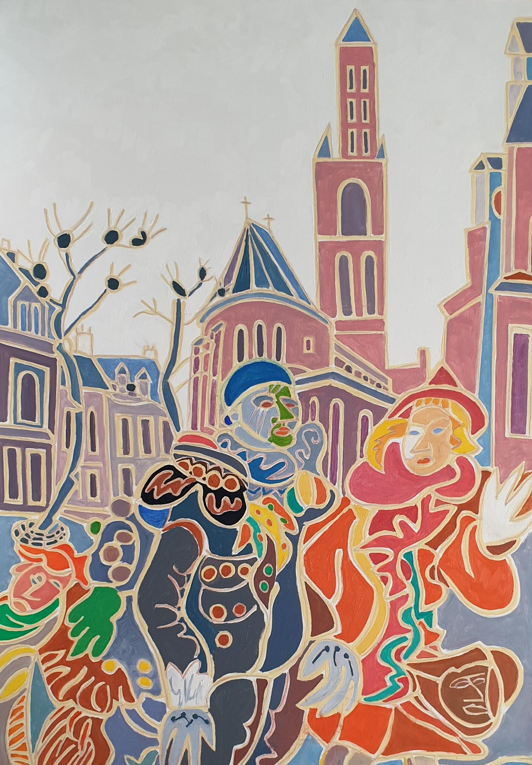 Le couple de la Vrijthof Peinture de Henri LANDIER 2019 116x81 cm Prix : 16 000 €