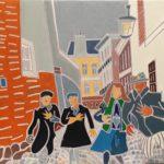 Les badauds du carnaval Peinture de Henri LANDIER 2019 89x116 cm Prix : 16 000 €