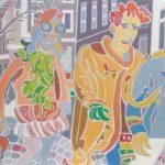 Le trio au chat roux Peinture de Henri LANDIER