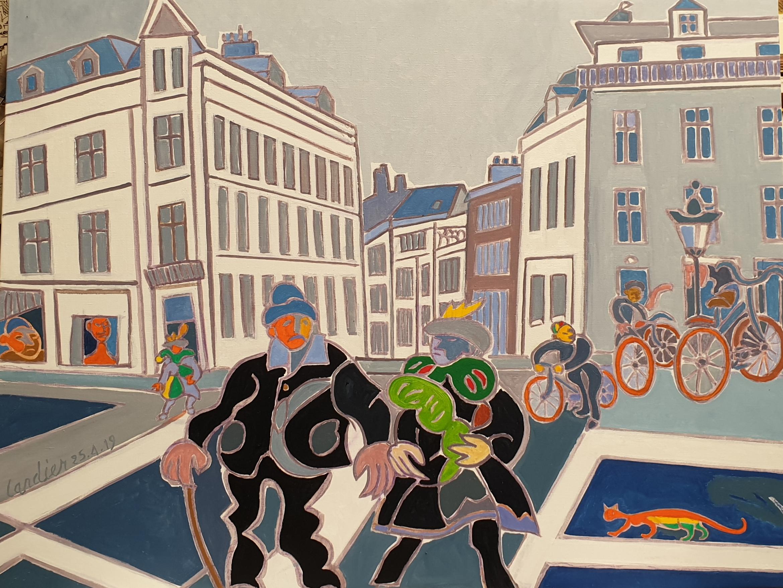A la recherche du carnaval. Peinture de Henri LANDIER 2019 89x116 cm Prix : 17 000 €