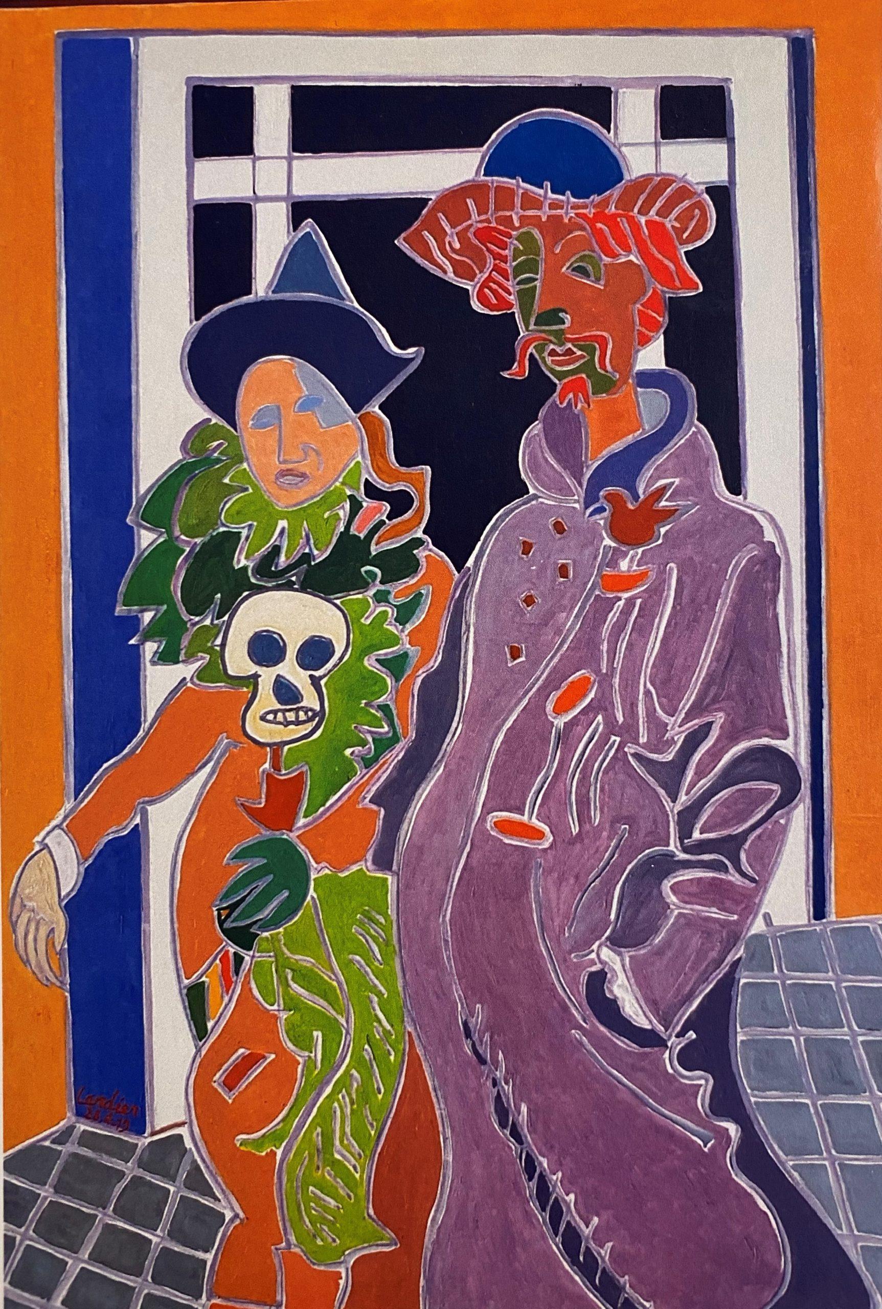 Le couple du carnaval à la tête de mort Peinture de Henri LANDIER 2019 130x89 cm Prix : 19 000 €