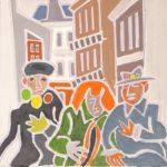 Le trio du carnaval Peinture de Henri LANDIER 2020 20x20 cm Prix : 2 200 €