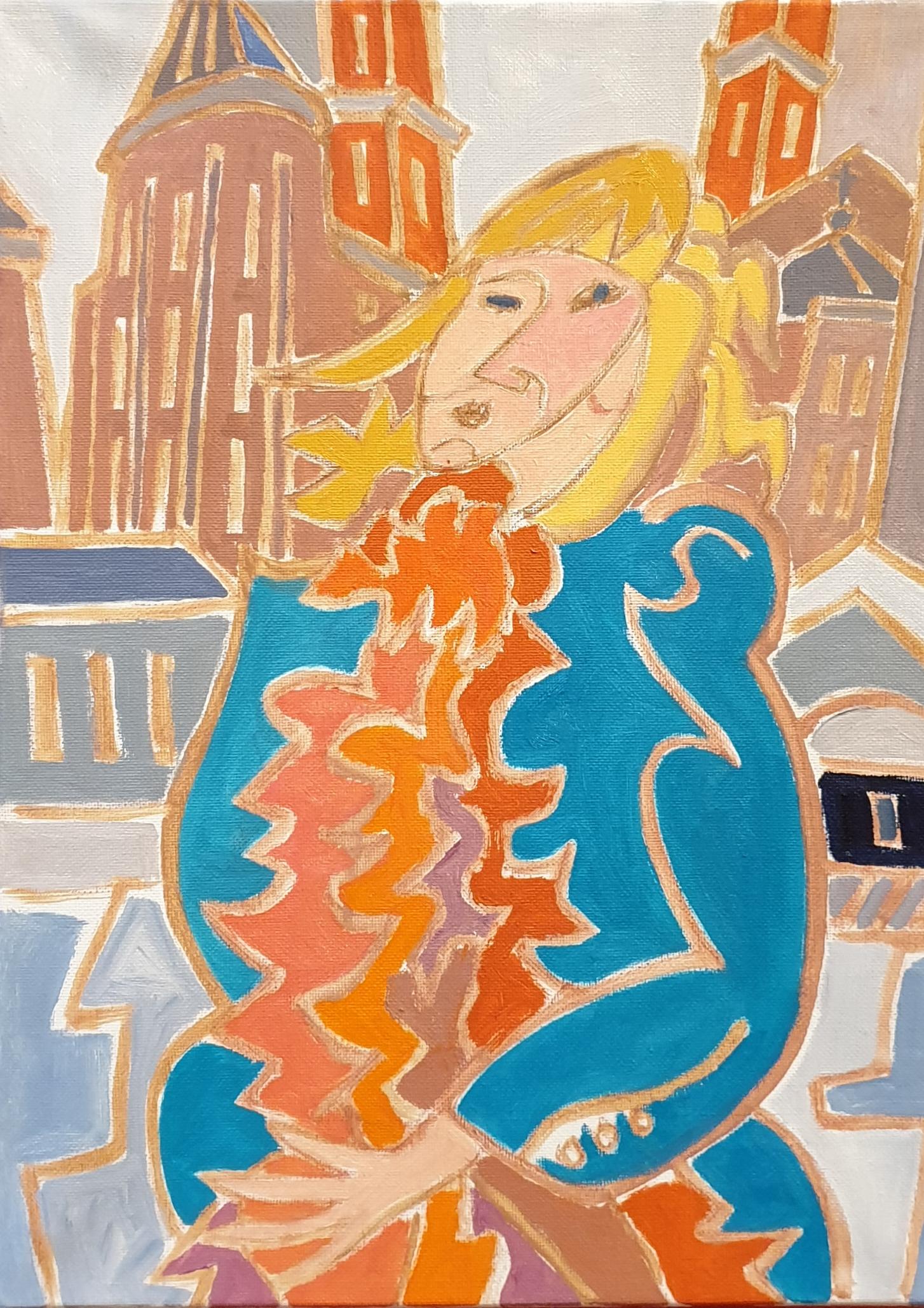 Léa au boa orangé Peinture de Henri LANDIER 2020 41x33 cm Prix : 4 600 €