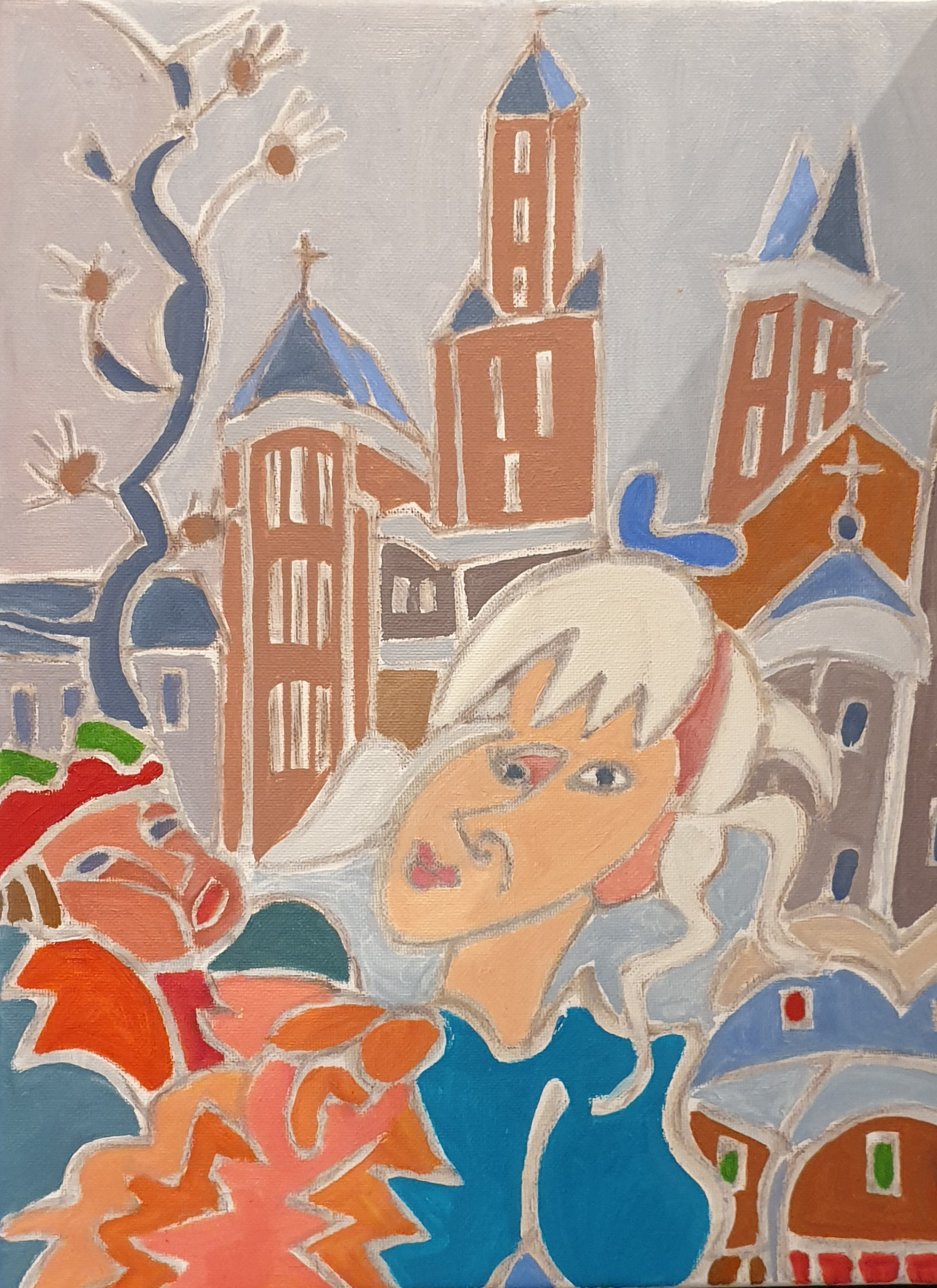 Léa à la perruque blanche Peinture de Henri LANDIER 2020 37,5x28 cm Prix : 3 900 €