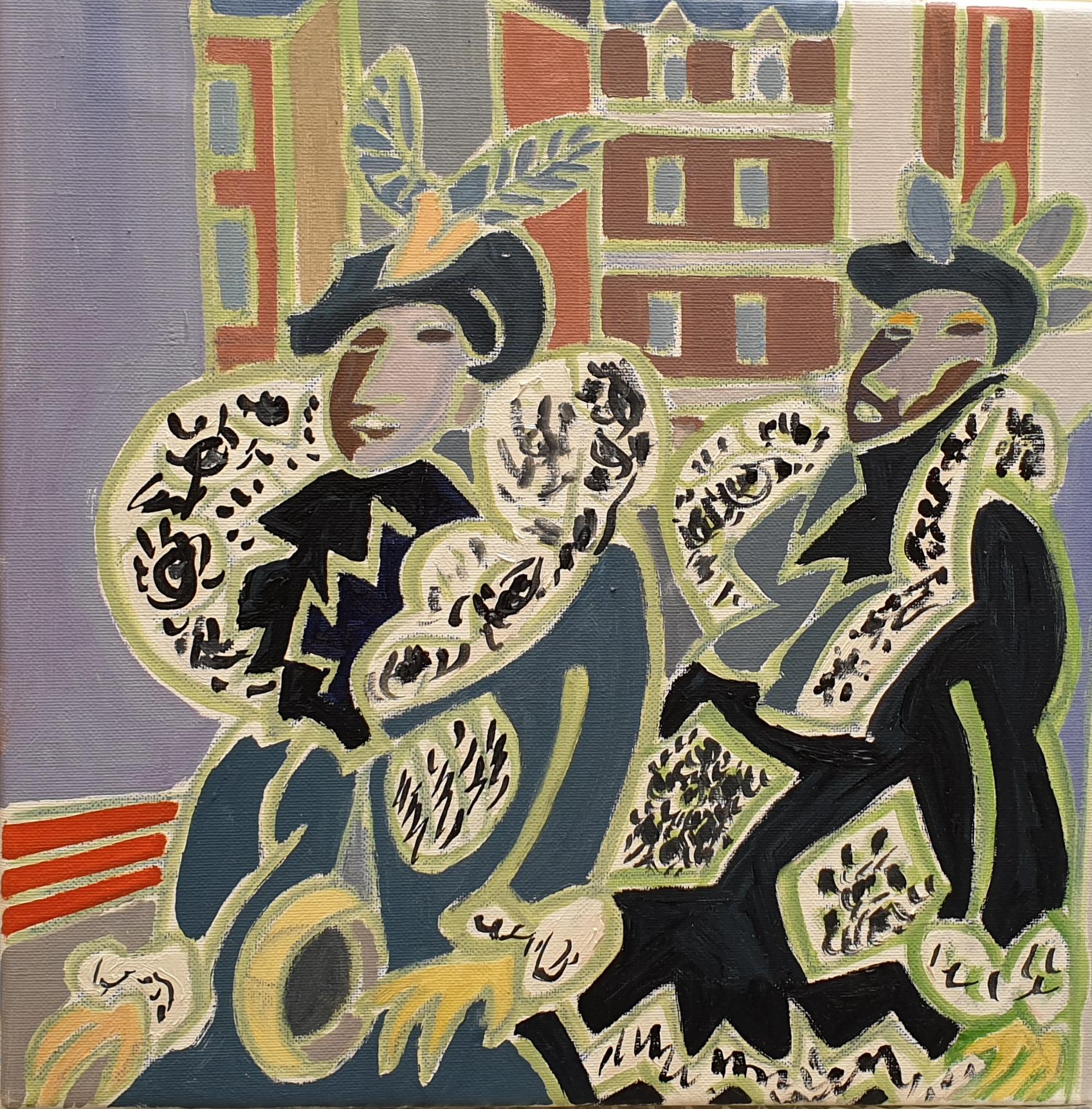 Elvire et Théo Peinture de Henri LANDIER 2019 35x35 cm Prix : 4 000 €