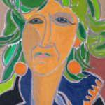Stéphanie aux cheveux verts Peinture de Henri LANDIER 2020 46x27 cm Prix : 4 800 €
