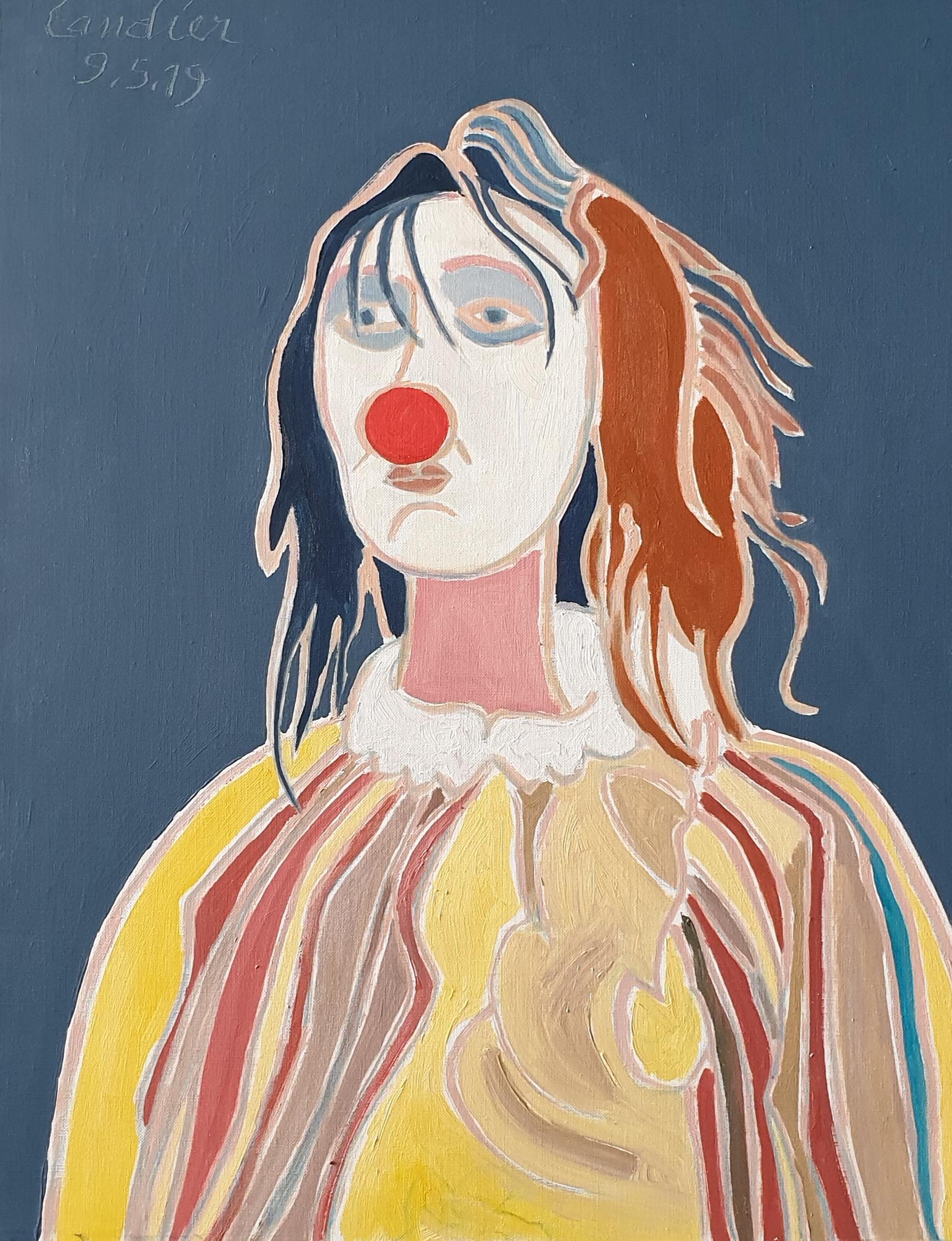 La clown au nez rougz Peinture de Henri LANDIER 2019 73x60 cm Prix : 9 600 €