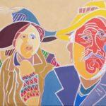 Les deux artistes au carnaval Peinture de Henri LANDIER 2017 65x81 cm Prix : 11 000 €