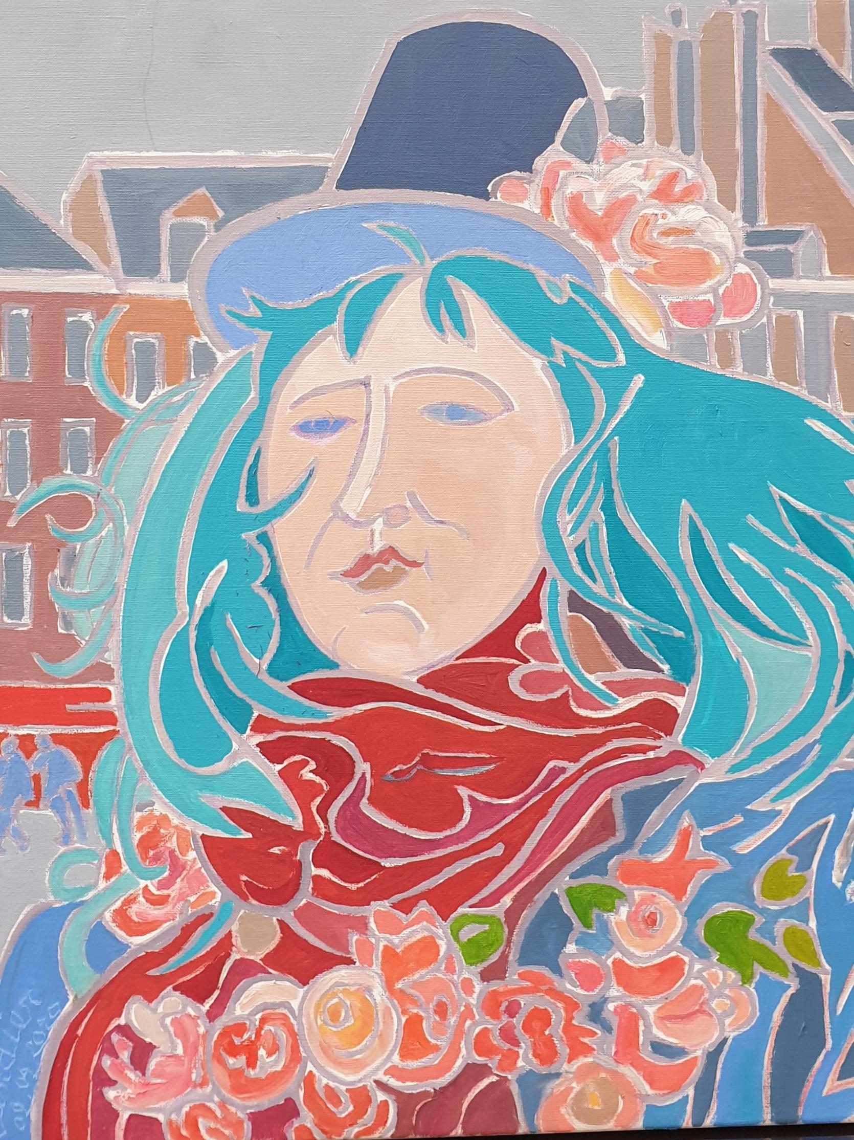 Béatrice au chapeau fleuri Peinture de Henri LANDIER 2020 61x50 cm Prix : 7 800 €