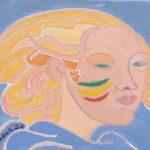 L'ange bleu du carnaval Peinture de Henri LANDIER 2020 27x35 cm Prix : 3 900 €