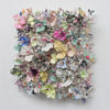 'Flower Bonanza' metallic 115x115x30cm side view
